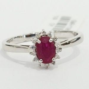 Jewelry - Ruby Diamond White Gold Ring